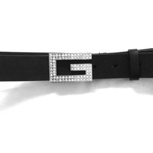 Guess Black Leather Belt with Silver Diamond G.